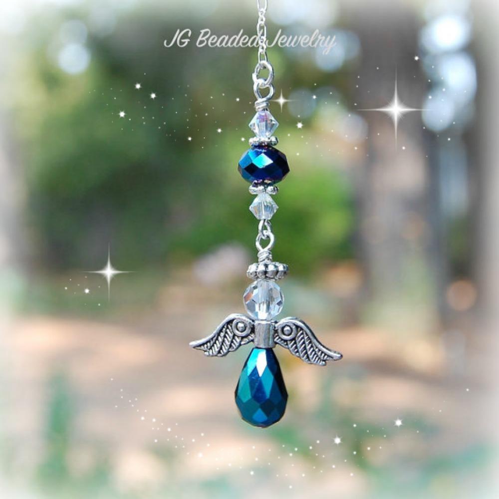 Iris Blue Hanging Angel