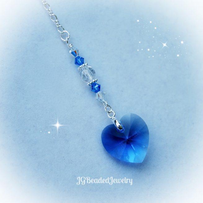 Blue Heart Crystal Car Charm
