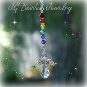 Rainbow Crystal Hanging Angel