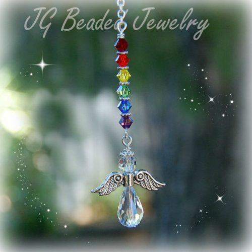 Rainbow Crystal Hanging Angel