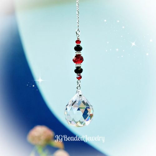 Red Black Crystal Suncatcher Decoration