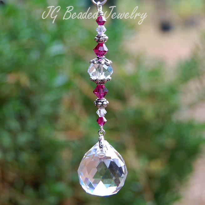 Fuchsia Swarovski Hanging Crystal