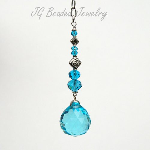 Light Blue Crystal Car Charm