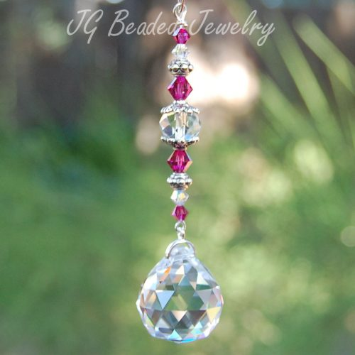 Fuchsia Crystal Car Charm
