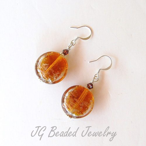 Gold Lampwork Earrings