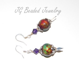 Mood Earrings With Purple Swarovski Crystals