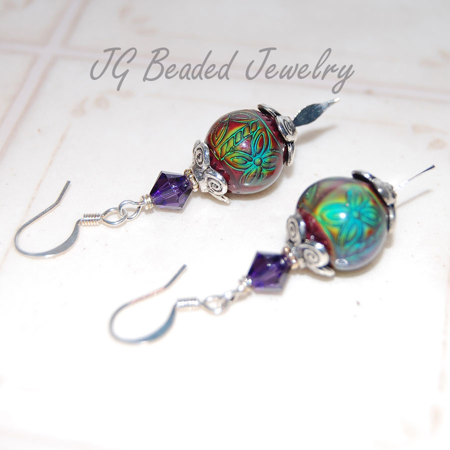 Mood Earrings With Purple Swarovski Crystals