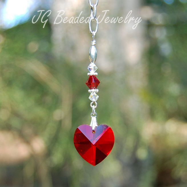 Red Swarovski Crystal Heart Decoration