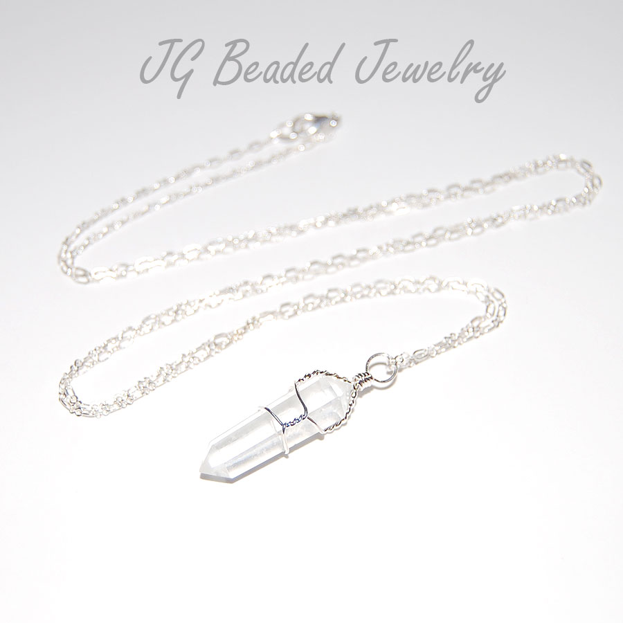 Long Quartz Crystal Necklace