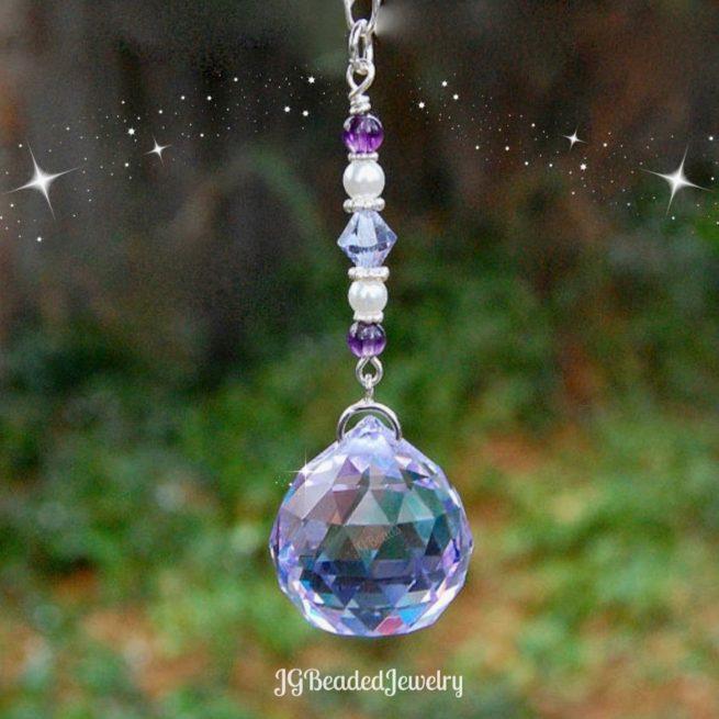 Amethyst Pearl Swarovski Crystal Suncatcher