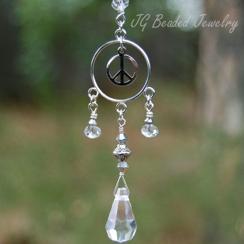Peace Sign Crystal Suncatcher