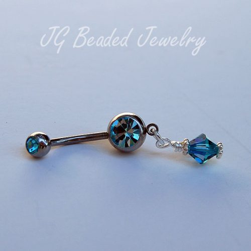 Light Blue Swarovski Belly Button Ring