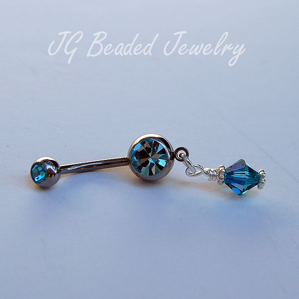 Belly Button Ring Blue Swarovski