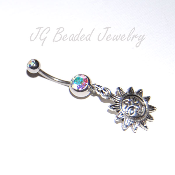 Belly Button Ring With Sun Charm