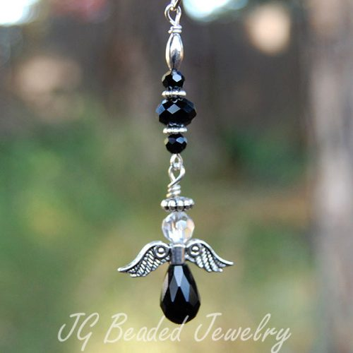 Black Crystal Hanging Angel