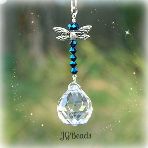 Iris Blue Dragonfly Crystal Suncatcher