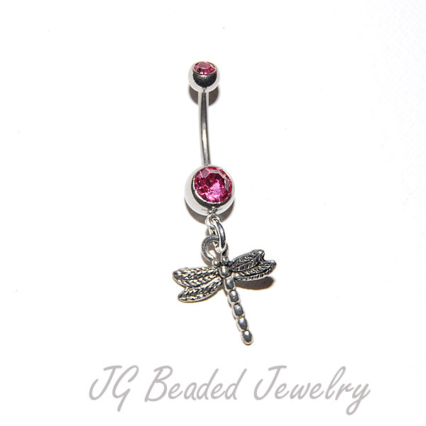 Pink Dragonfly Belly Ring