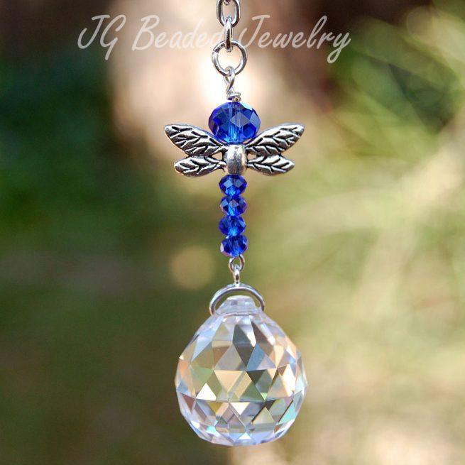 Sapphire Dragonfly Crystal Suncatcher