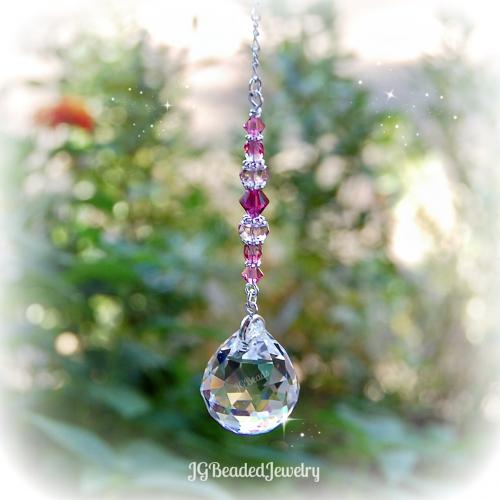 Pink Fuchsia Crystal Suncatcher