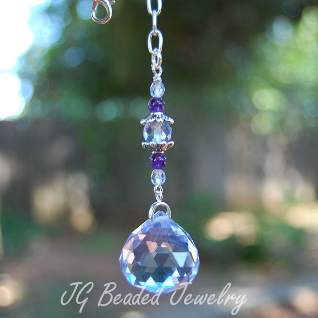 Purple Hanging Crystal Decoration