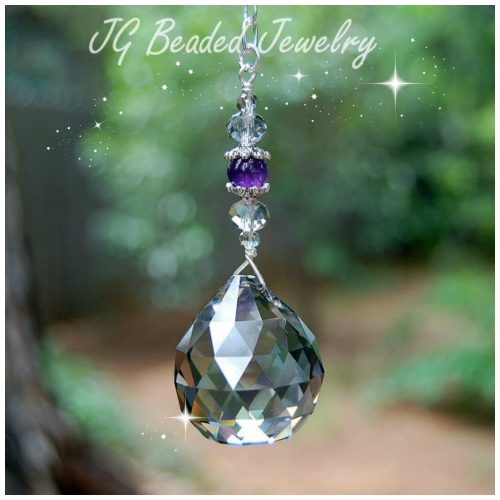 Silver Shade Amethyst Hanging Crystal