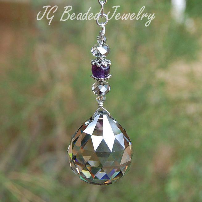 Silver Amethyst Hanging Crystal