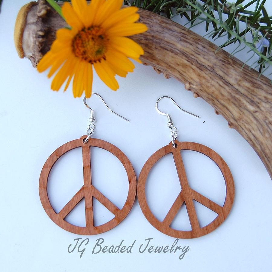 Large Peace Sign Wood Earrings