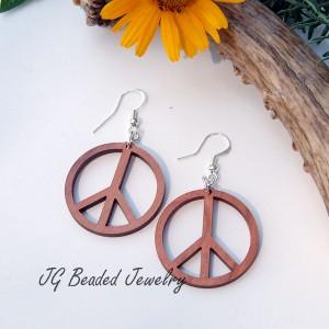 Peace Sign Wood Earrings