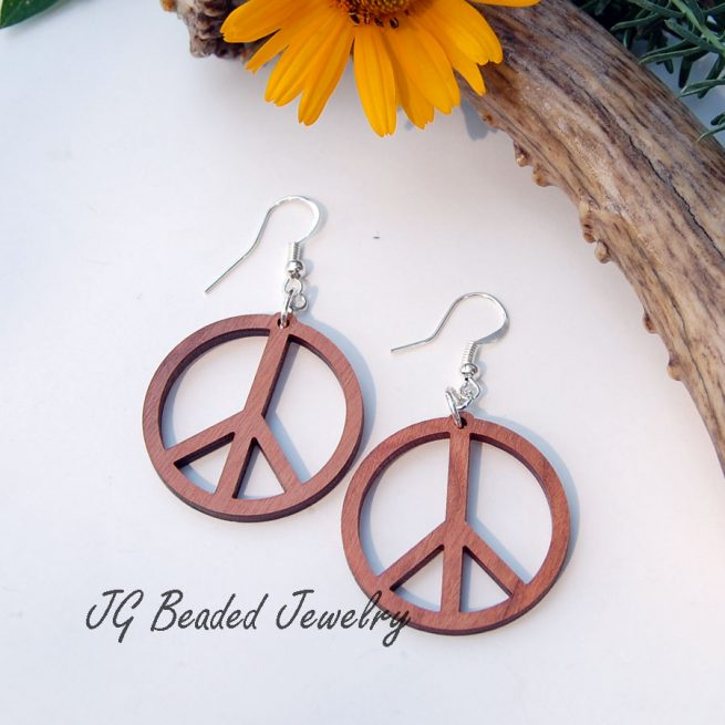 Peace Sign Wood Earrings
