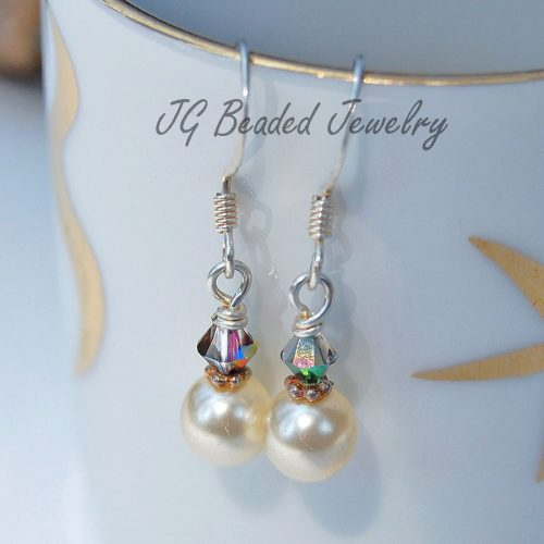 Pearl Earrings With Swarovski Crystals