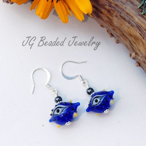 Dark Blue Third Eye Earrings