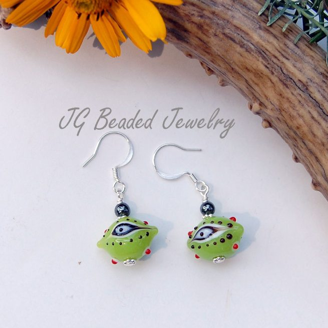 Green Evil Eye Earrings