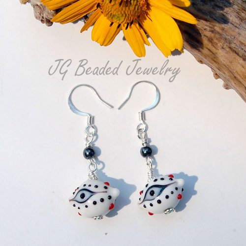 White Third Eye Earrings