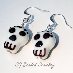 Skull Lampwork Earrings