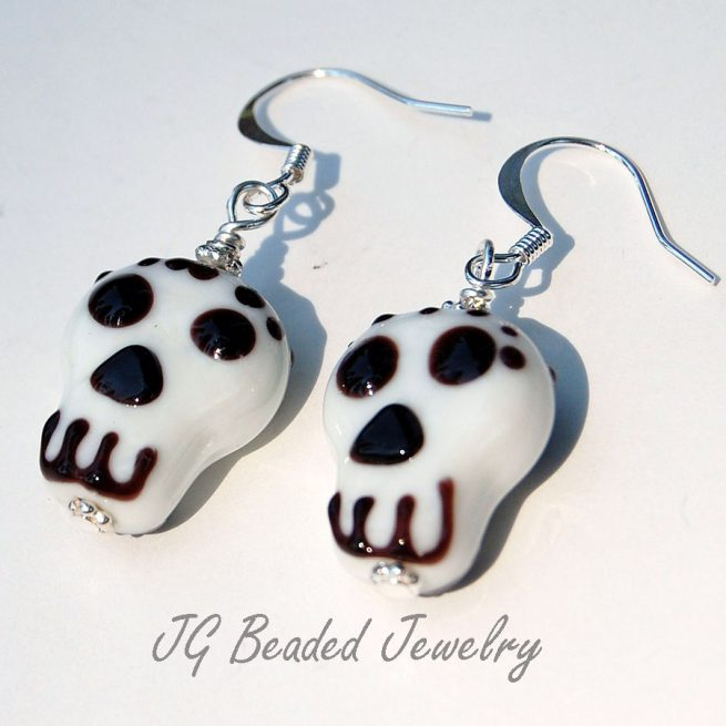 Skull Lampwork Earrings