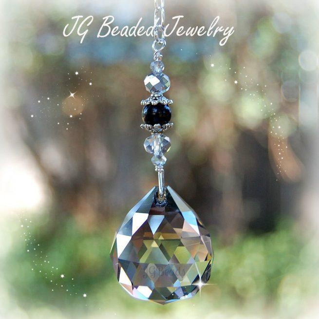 Silver Shade Hanging Crystal