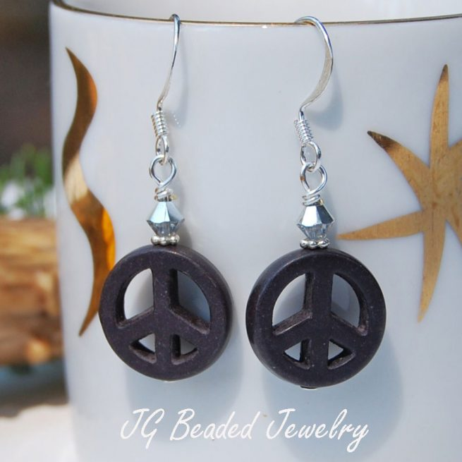 Black Peace Sign Earrings