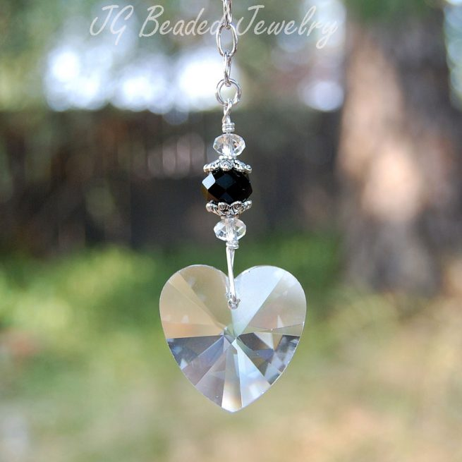 Hanging Swarovski Crystal Heart Decoration
