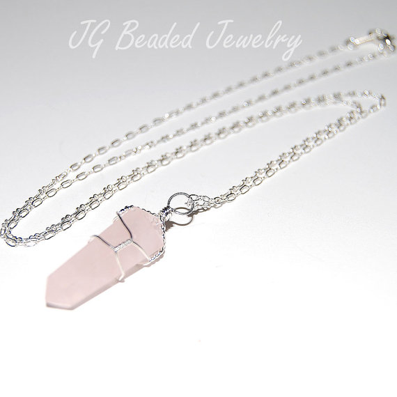 rose quartz crystal necklace