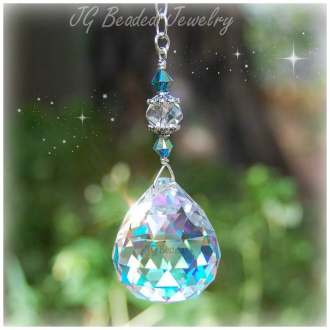 Hanging Indicolite Prism Crystal