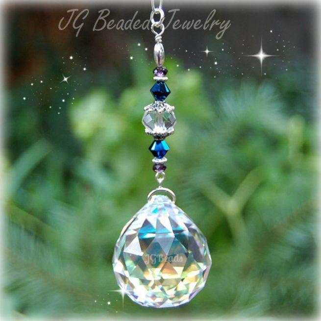 Glacier Blue Hanging Prism Crystal