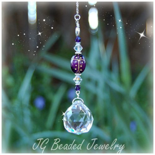 Purple Ladybug Crystal Decoration