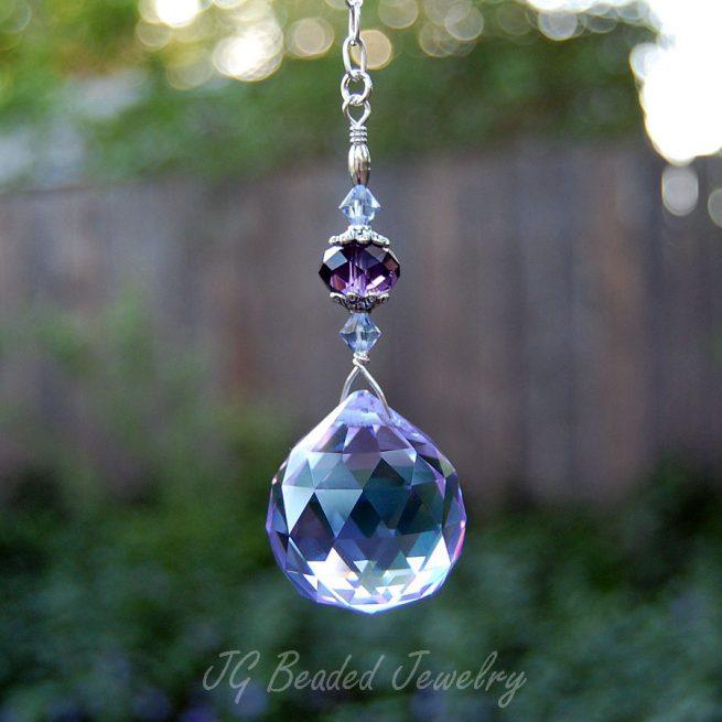 Hanging Purple Crystal Suncatcher