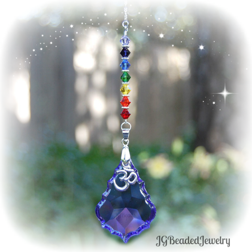 Purple Om Rainbow Crystal Suncatcher