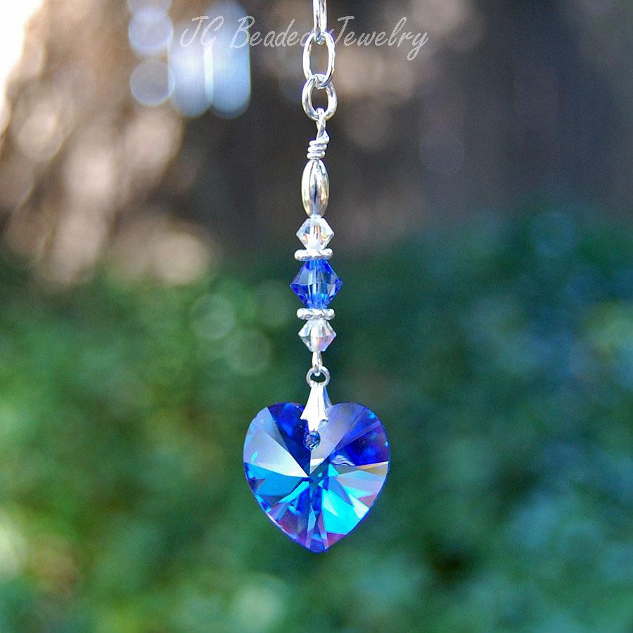 Blue Crystal Heart Ornament Jgbeads