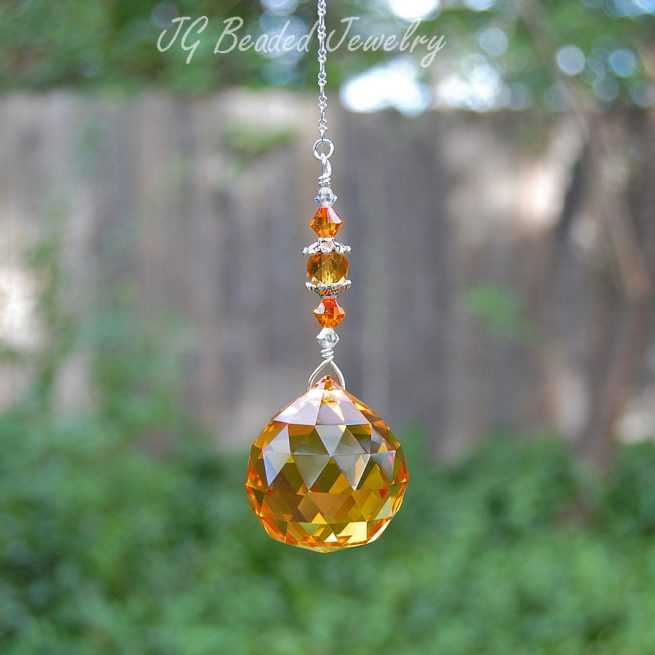 Fire Opal Crystal Suncatcher