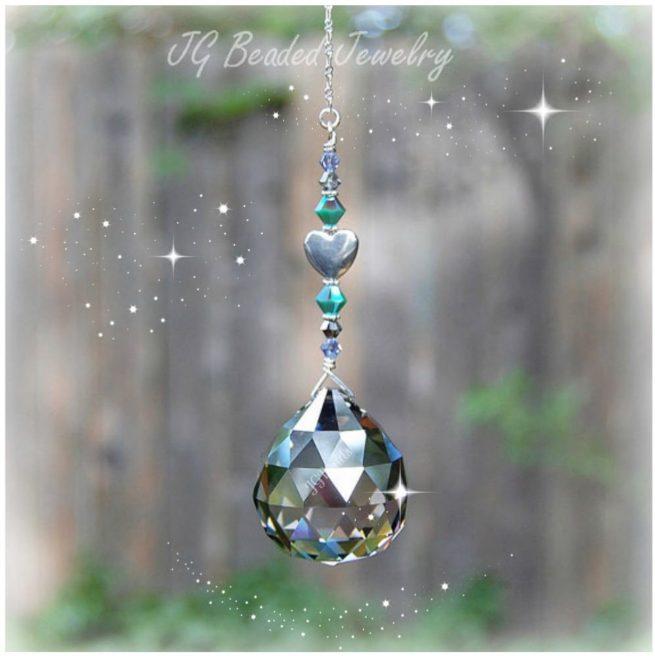 Silver Heart Prism Crystal Suncatcher