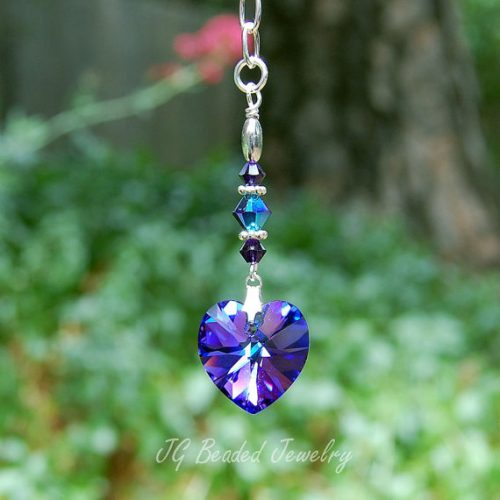 Purple Heart Crystal Rearview Charm