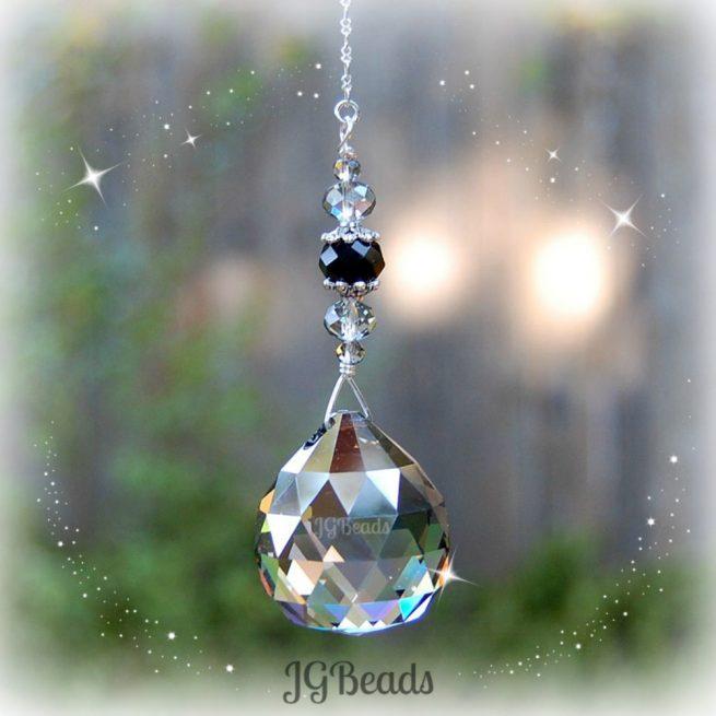 Silver Black Prism Crystal