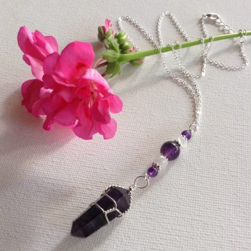Moonstone Amethyst Crystal Necklace